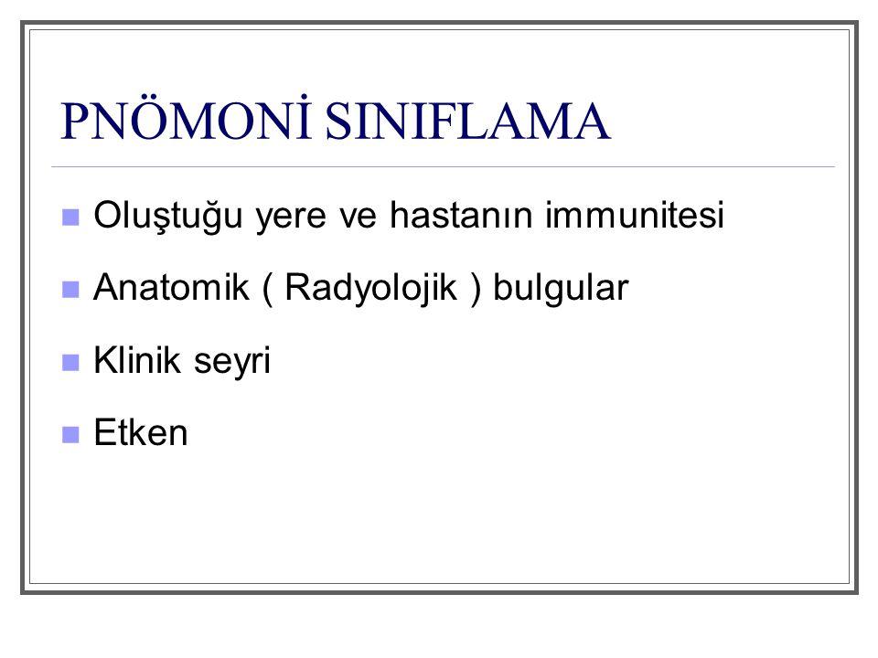 PNÖMONİ SINIFLAMA Oluştuğu yere ve hastanın immunitesi