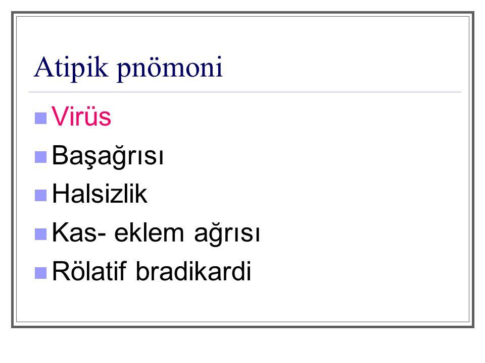 Atipik pnömoni Virüs Başağrısı Halsizlik Kas- eklem ağrısı