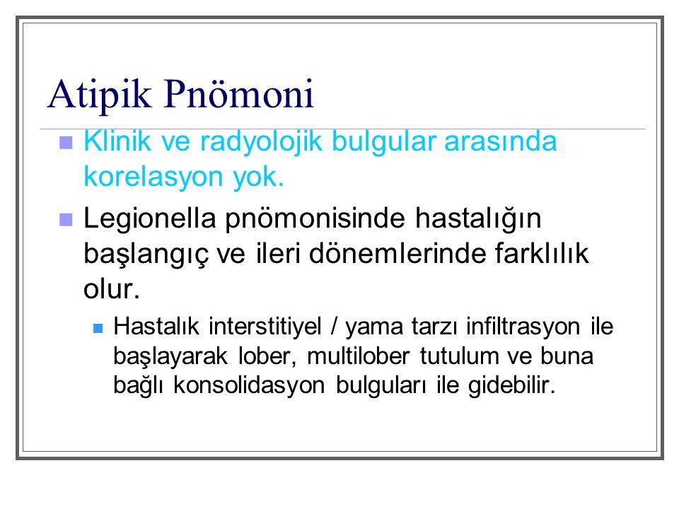 Atipik Pnömoni Klinik ve radyolojik bulgular arasında korelasyon yok.