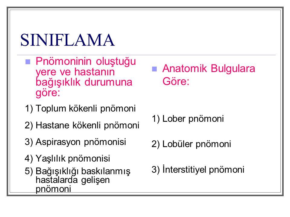 SINIFLAMA Pnömoninin oluştuğu yere ve hastanın bağışıklık durumuna göre: 1) Toplum kökenli pnömoni.