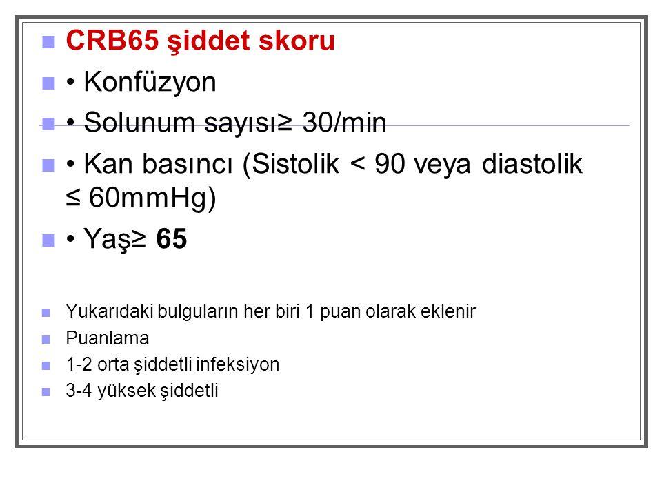 • Kan basıncı (Sistolik < 90 veya diastolik ≤ 60mmHg) • Yaş≥ 65