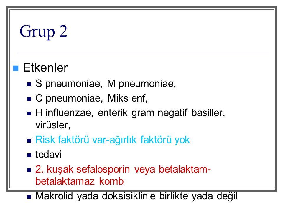 Grup 2 Etkenler S pneumoniae, M pneumoniae, C pneumoniae, Miks enf,