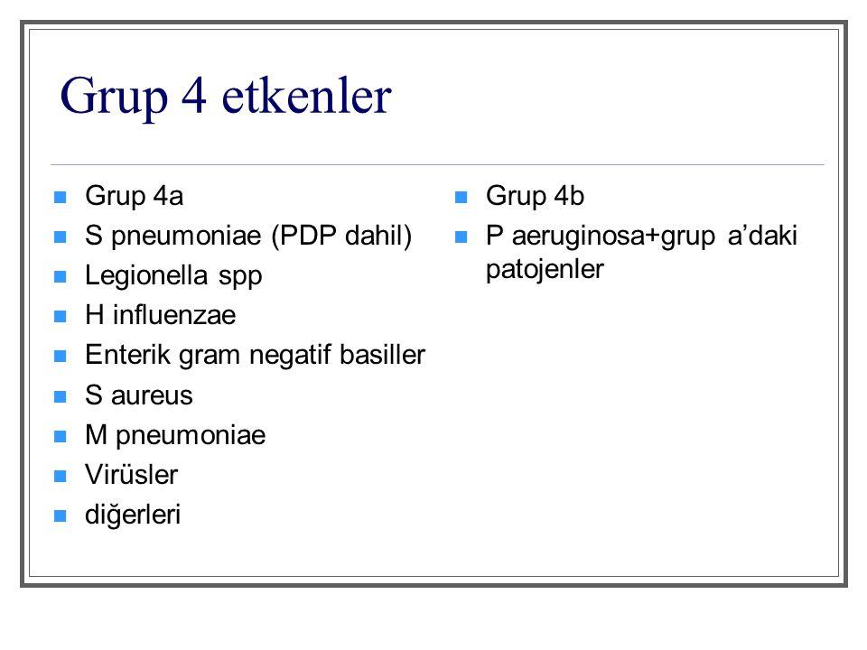 Grup 4 etkenler Grup 4a S pneumoniae (PDP dahil) Legionella spp