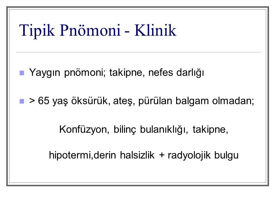 Tipik Pnömoni - Klinik Yaygın pnömoni; takipne, nefes darlığı