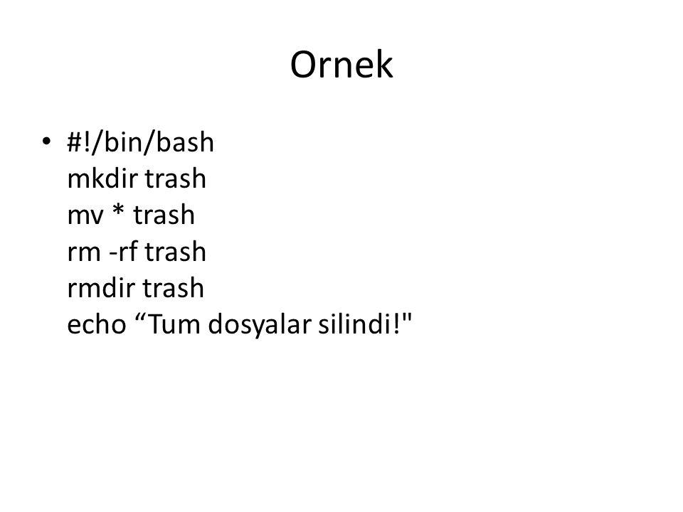 Ornek #!/bin/bash mkdir trash mv * trash rm -rf trash rmdir trash echo Tum dosyalar silindi!