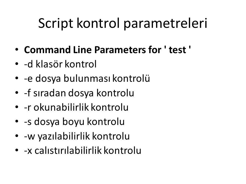 Script kontrol parametreleri