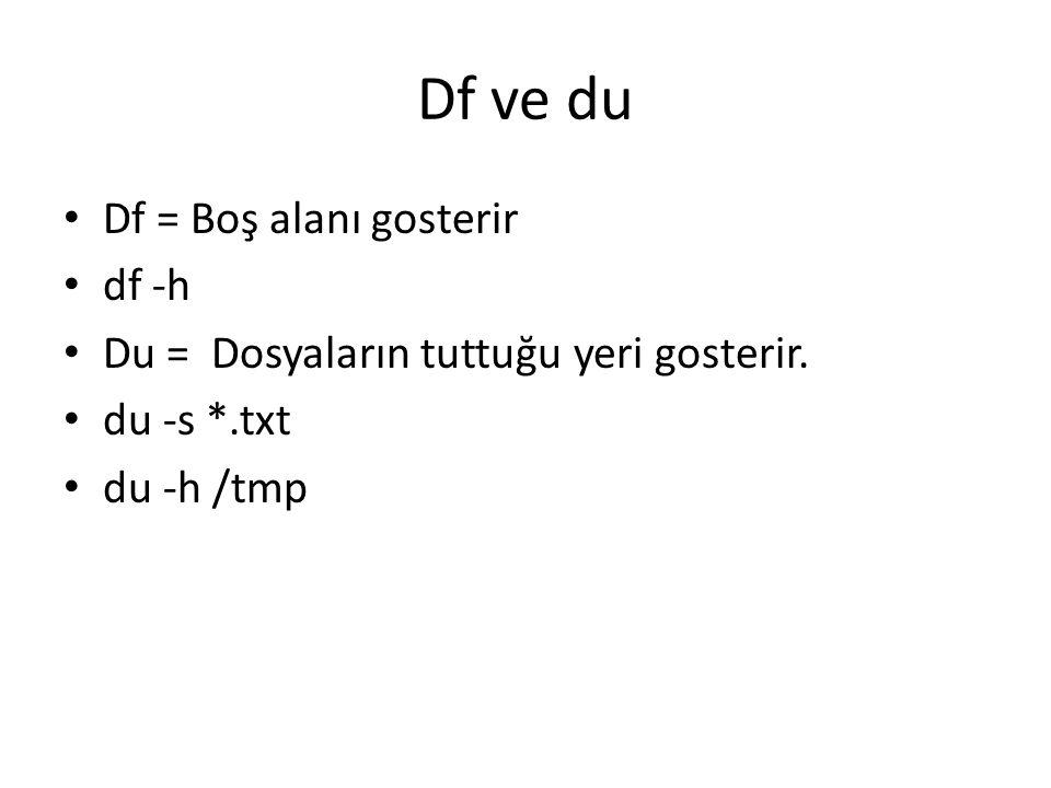 Df ve du Df = Boş alanı gosterir df -h