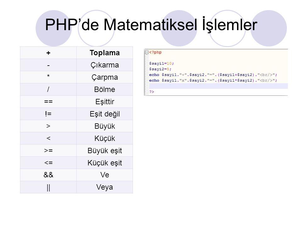 PHP'de Matematiksel İşlemler