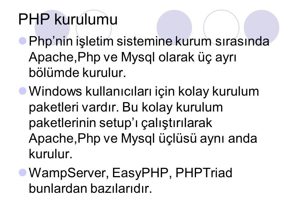 PHP kurulumu Php'nin işletim sistemine kurum sırasında Apache,Php ve Mysql olarak üç ayrı bölümde kurulur.