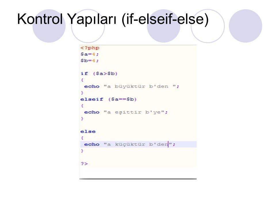 Kontrol Yapıları (if-elseif-else)