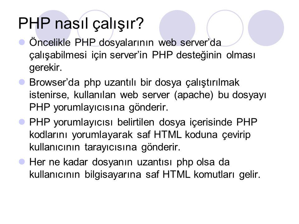 PHP nasıl çalışır Öncelikle PHP dosyalarının web server'da çalışabilmesi için server'in PHP desteğinin olması gerekir.