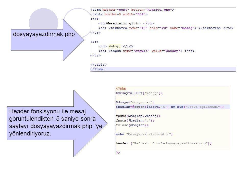 dosyayayazdirmak.php Header fonkisyonu ile mesaj. görüntülendikten 5 saniye sonra. sayfayı dosyayayazdirmak.php 'ye.
