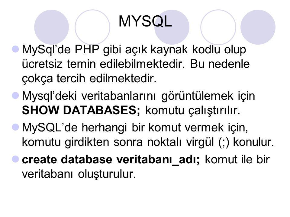 MYSQL MySql'de PHP gibi açık kaynak kodlu olup ücretsiz temin edilebilmektedir. Bu nedenle çokça tercih edilmektedir.