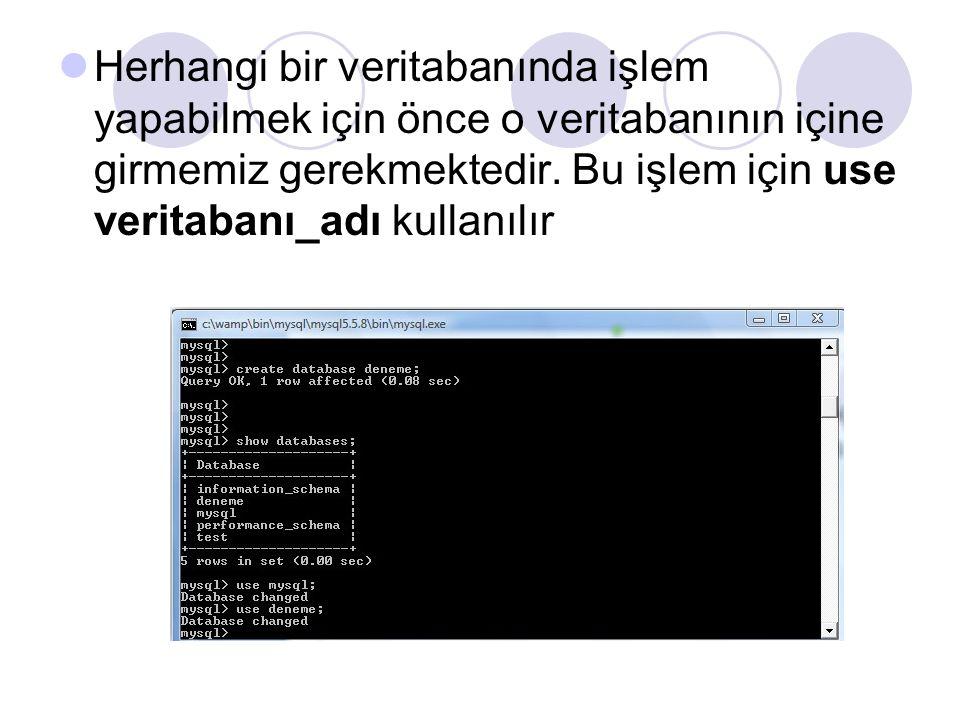 Herhangi bir veritabanında işlem yapabilmek için önce o veritabanının içine girmemiz gerekmektedir.
