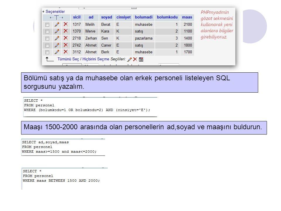 Bölümü satış ya da muhasebe olan erkek personeli listeleyen SQL