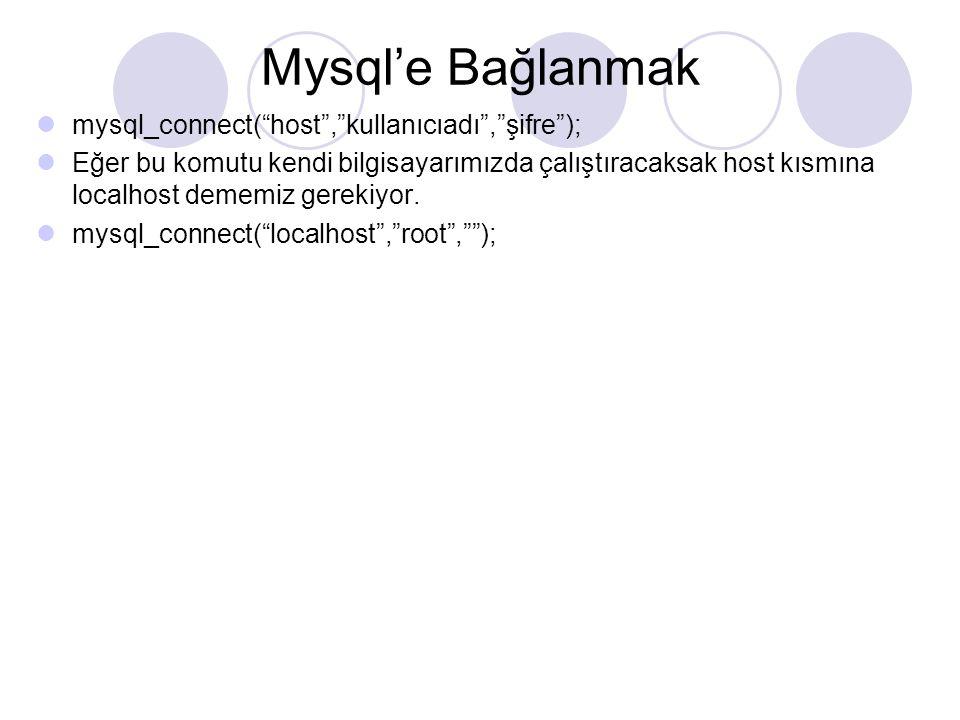 Mysql'e Bağlanmak mysql_connect( host , kullanıcıadı , şifre );