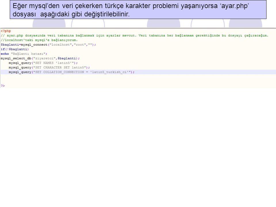 Eğer mysql'den veri çekerken türkçe karakter problemi yaşanıyorsa 'ayar.php'