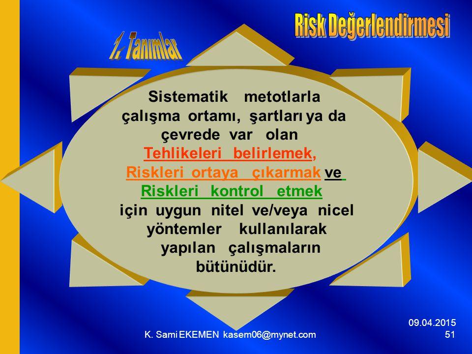 Risk Değerlendirmesi 1. Tanımlar Sistematik metotlarla