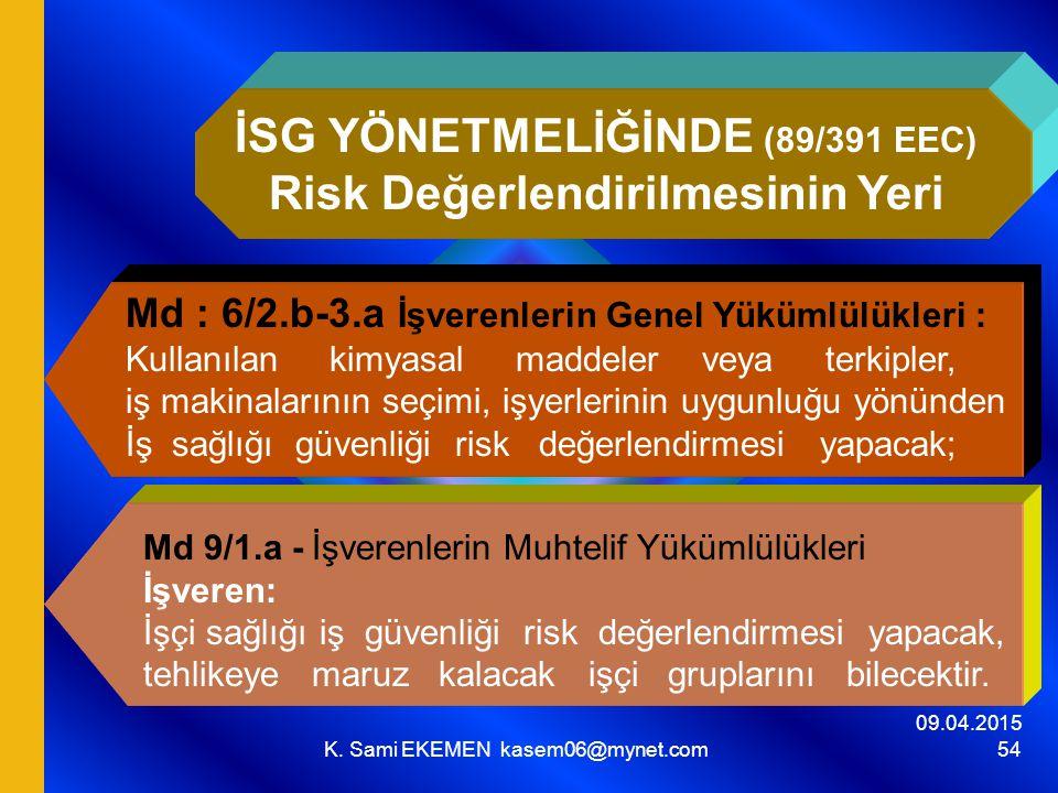 İSG YÖNETMELİĞİNDE (89/391 EEC) Risk Değerlendirilmesinin Yeri
