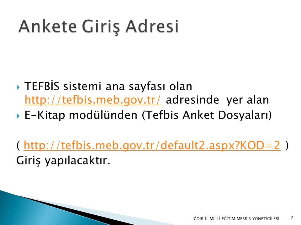 Ankete Giriş Adresi TEFBİS sistemi ana sayfası olan http://tefbis.meb.gov.tr/ adresinde yer alan.