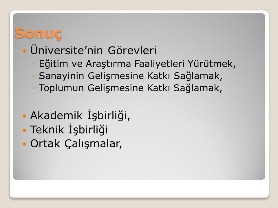 Sonuç Üniversite'nin Görevleri Akademik İşbirliği, Teknik İşbirliği
