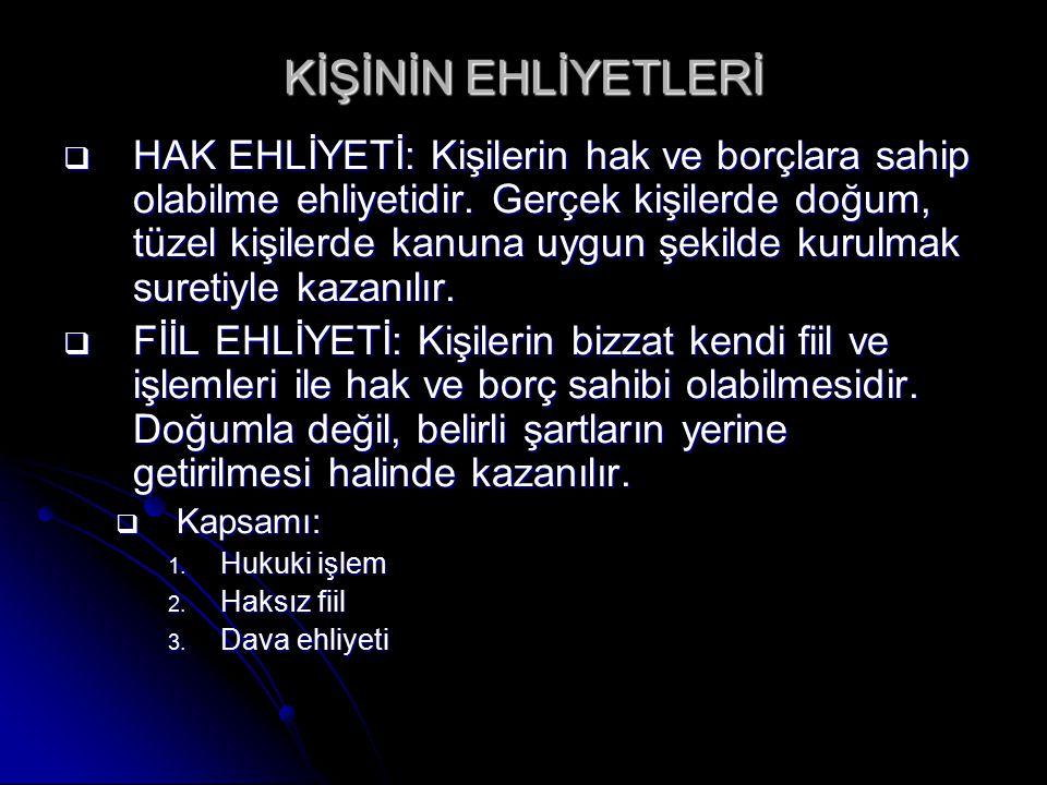 KİŞİNİN EHLİYETLERİ