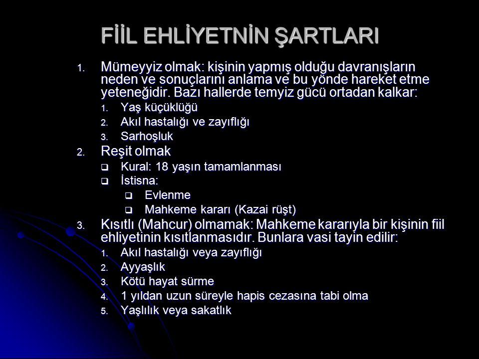 FİİL EHLİYETNİN ŞARTLARI