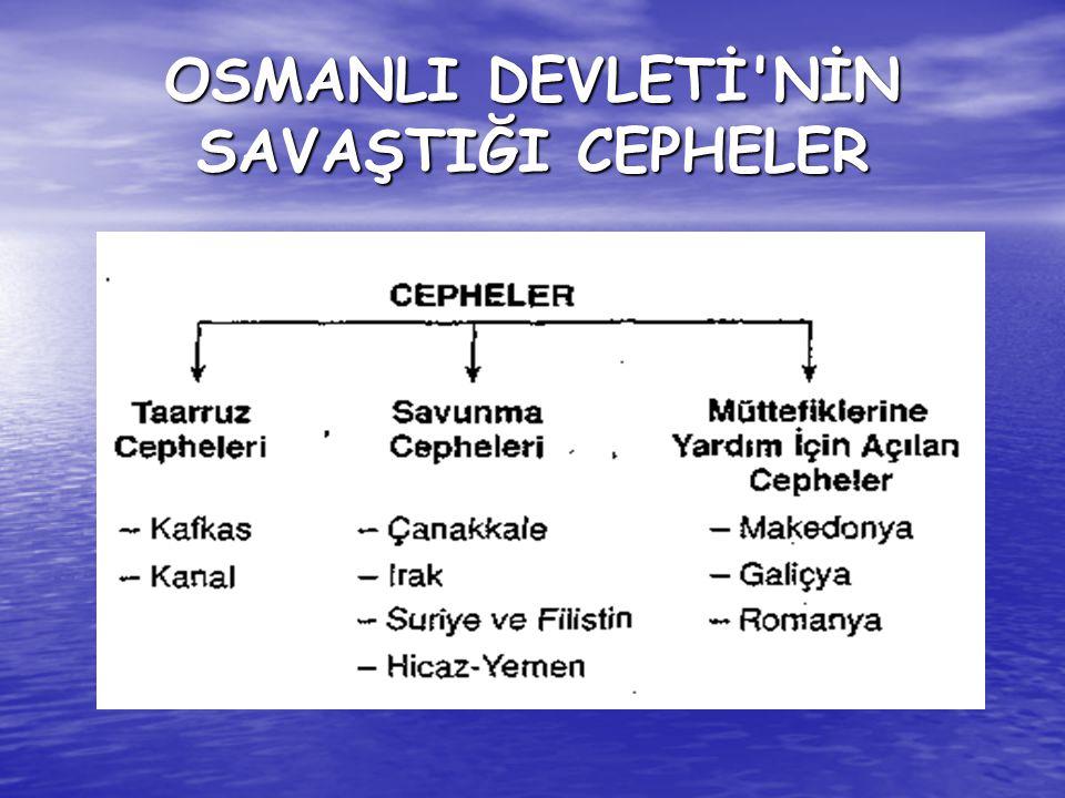 OSMANLI DEVLETİ NİN SAVAŞTIĞI CEPHELER