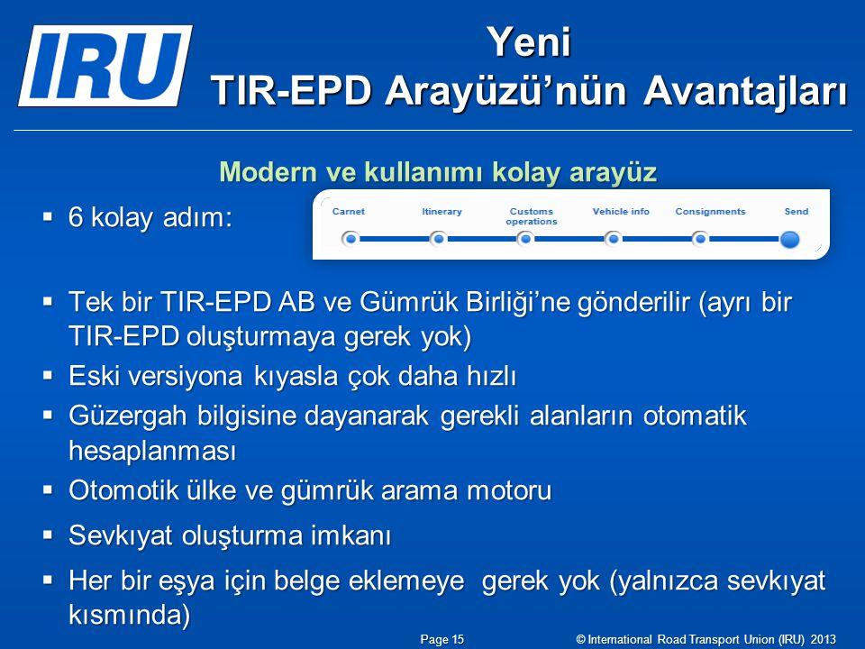 Yeni TIR-EPD Arayüzü'nün Avantajları