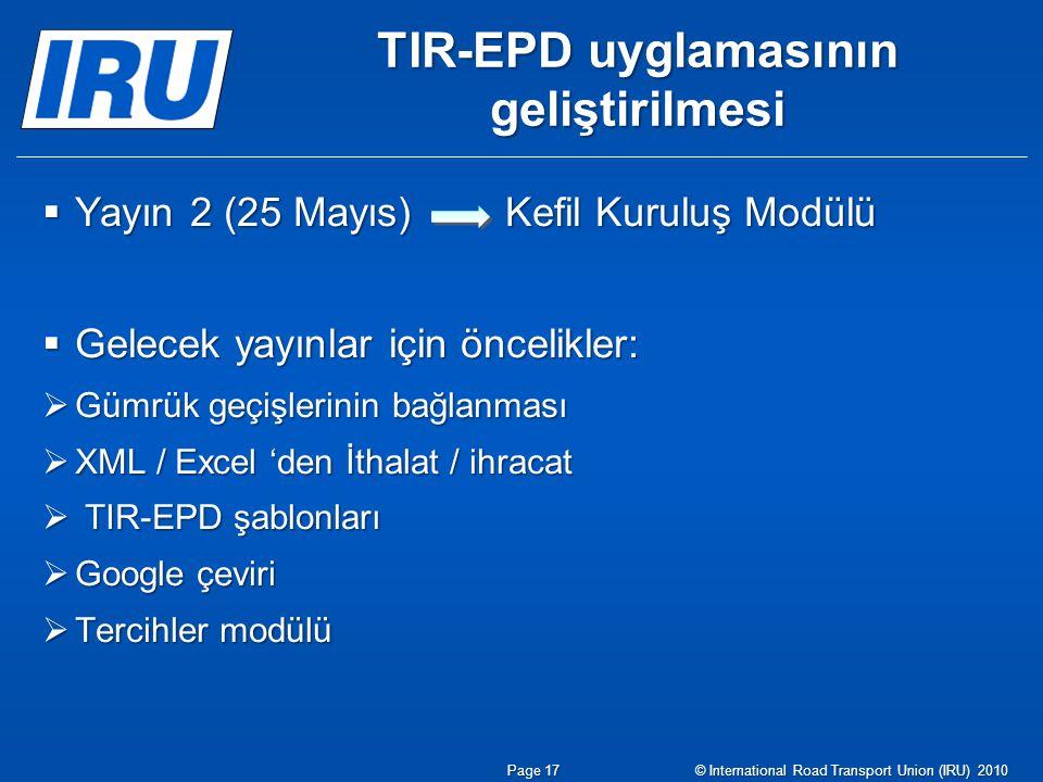 TIR-EPD uyglamasının geliştirilmesi