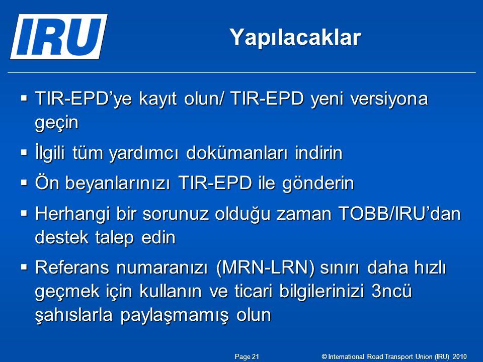 Yapılacaklar TIR-EPD'ye kayıt olun/ TIR-EPD yeni versiyona geçin