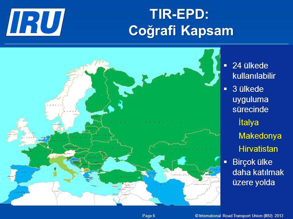 TIR-EPD: Coğrafi Kapsam
