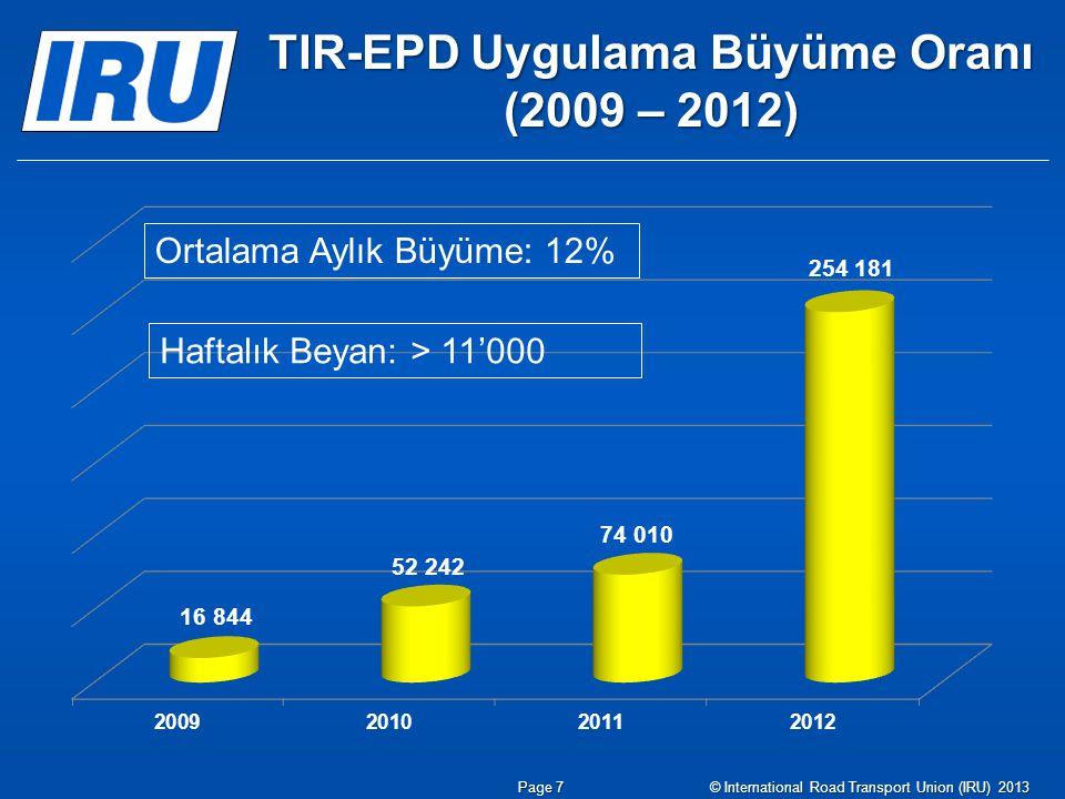 TIR-EPD Uygulama Büyüme Oranı (2009 – 2012)
