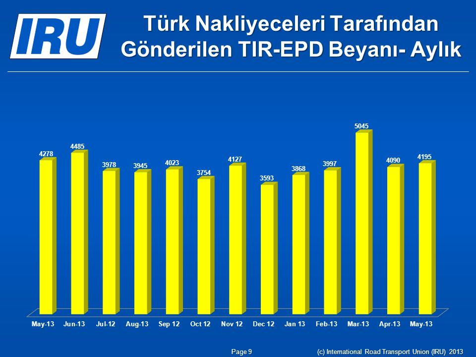 Türk Nakliyeceleri Tarafından Gönderilen TIR-EPD Beyanı- Aylık