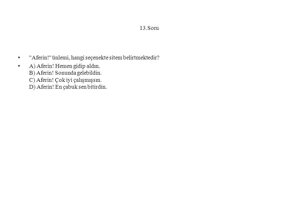 13.Soru Aferin! ünlemi, hangi seçenekte sitem belirtmektedir