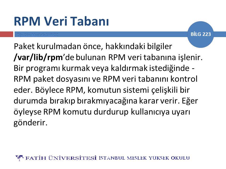 RPM Veri Tabanı