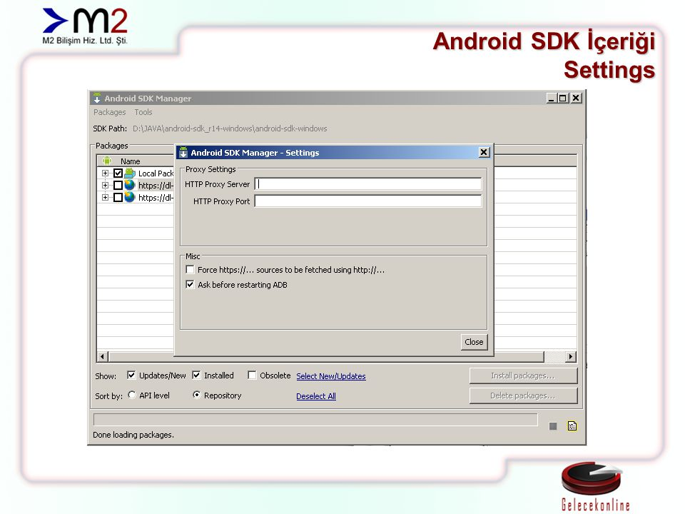 Android SDK İçeriği Settings