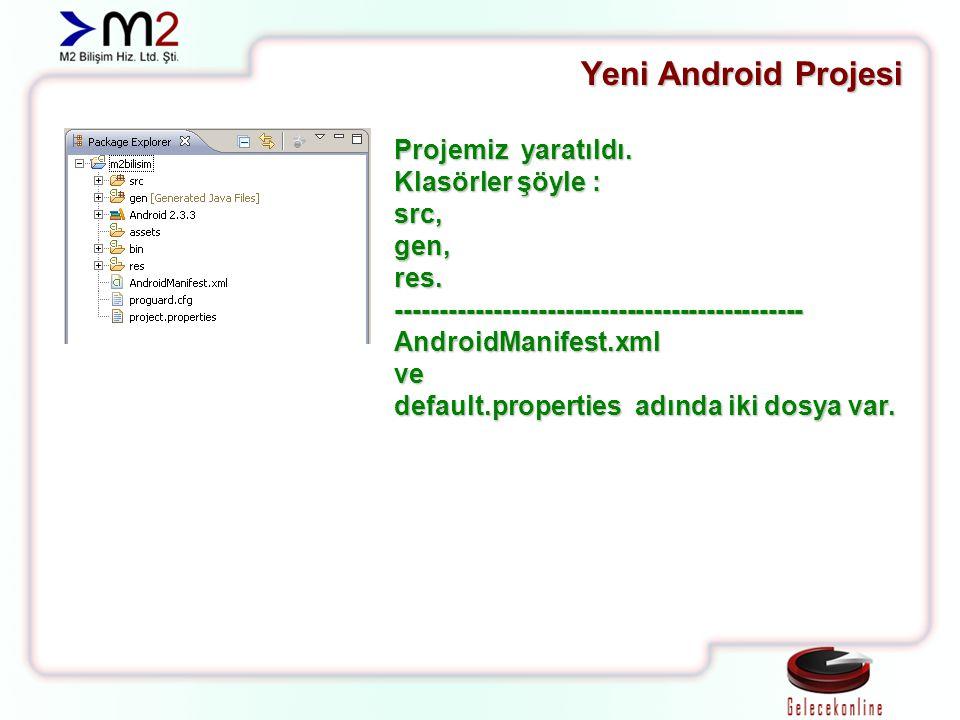 Yeni Android Projesi Projemiz yaratıldı. Klasörler şöyle : src, gen,