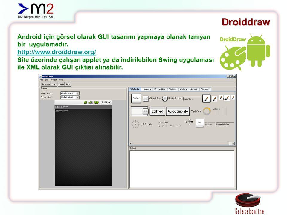Droiddraw Android için görsel olarak GUI tasarımı yapmaya olanak tanıyan bir uygulamadır. http://www.droiddraw.org/