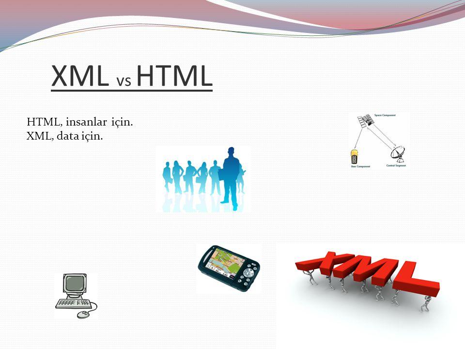 XML vs HTML HTML, insanlar için. XML, data için.