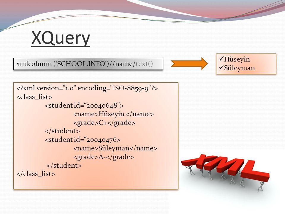 XQuery Hüseyin xmlcolumn ('SCHOOL.INFO )//name/text() Süleyman