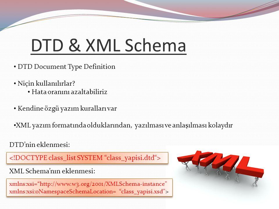 DTD & XML Schema DTD Document Type Definition Niçin kullanılırlar