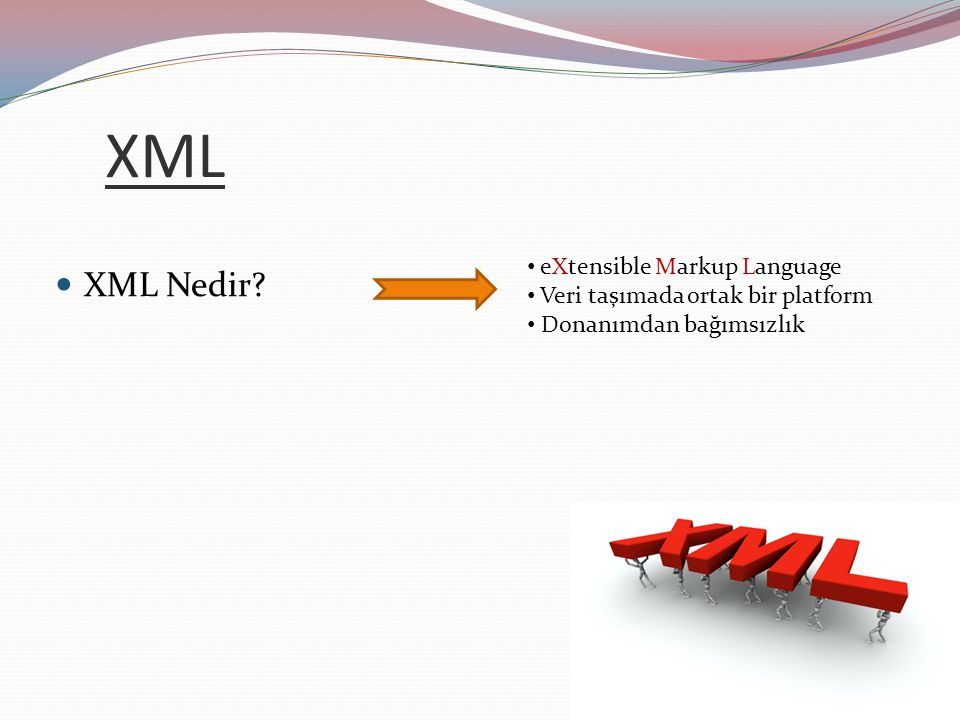 XML XML Nedir eXtensible Markup Language