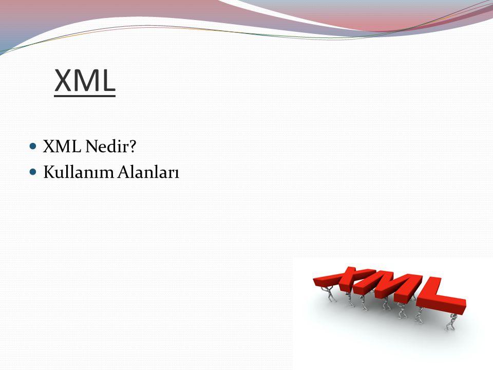 XML XML Nedir Kullanım Alanları