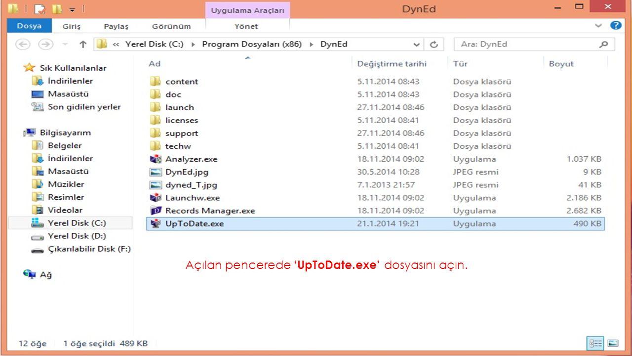 Açılan pencerede 'UpToDate.exe' dosyasını açın.