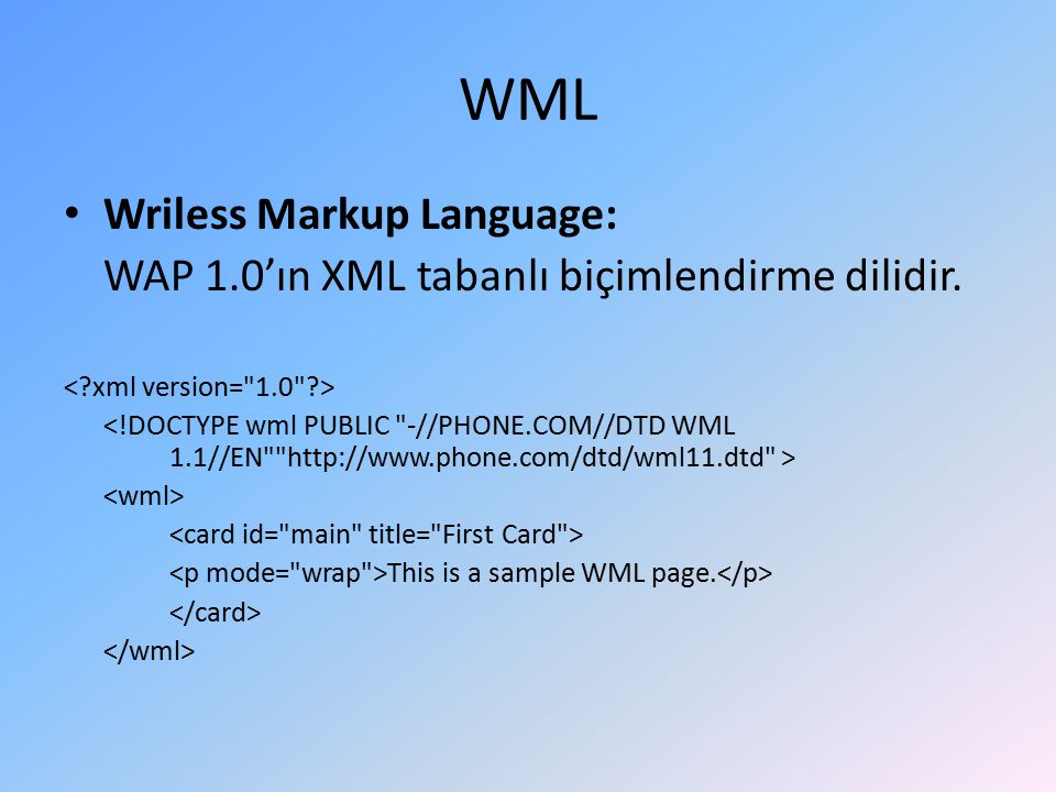 WML Wriless Markup Language: