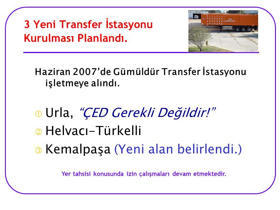 3 Yeni Transfer İstasyonu Kurulması Planlandı.