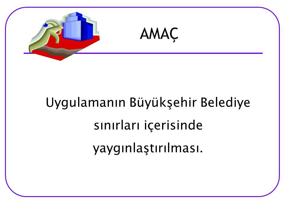 AMAÇ Amaç; Uygulamanın Büyükşehir Belediye sınırları içerisinde yaygınlaştırılması.