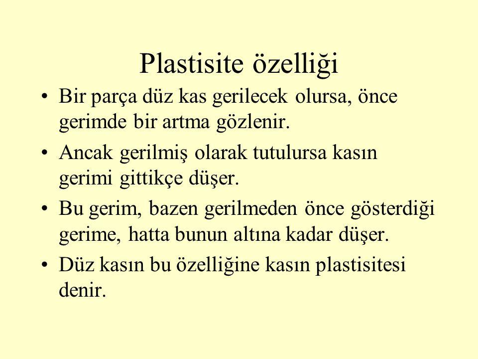 Plastisite özelliği Bir parça düz kas gerilecek olursa, önce gerimde bir artma gözlenir.