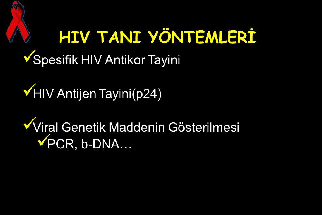 HIV TANI YÖNTEMLERİ Spesifik HIV Antikor Tayini